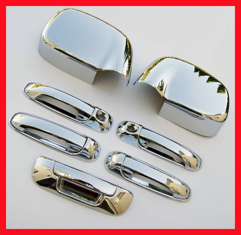 02 08 Dodge RAM Chrome 5 Door Handle Mirror Covers 2K H